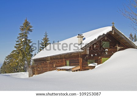 Wasensteiner Alm in Upper Bavaria  in winter