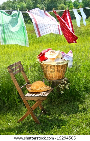 Wash day for dish towels on a summer day