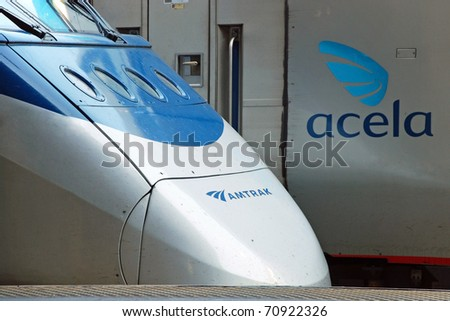 WASH DC - CIRCA JUNE 09: High speed train Acela circa June 09 in Washington DC, USA. Acela Express trains are the only true high-speed trains in North America, going as fast as 150 mph.