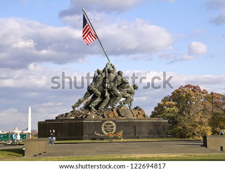 WASH DC - CIRCA NOV 2011: Iwo Jima Memorial circa NOV 2011 in Wash DC, USA. Memorial dedicated to all personnel of United States Marine Corps who have died in defense of their country since 1775.