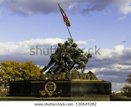 WASH DC - CIRCA NOV 2011: Iwo Jima Memorial  NOV 2011, USA. Memorial dedicated to all personnel of United States Marine Corps who have died in defense of their country since 1775.