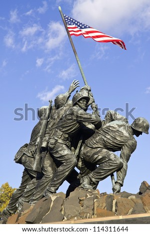 WASH DC - CIRCA SEP 2011: Iwo Jima Memorial circa SEP 2011 in Wash DC, USA. Memorial dedicated to all personnel of United States Marine Corps who have died in defense of their country since 1775.