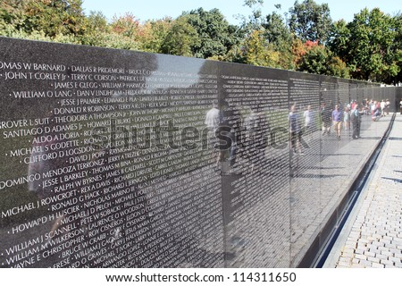 WASH DC -SEP 11: Names of Vietnam war casualties on Vietnam War Veterans Memorial on Sep 10, 2011 in Washington DC, USA. Names in chronological order,from first casualty in 1959 to last in 1975.