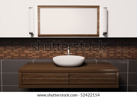 Washbasin mirror and lamps 3d render - stock photo