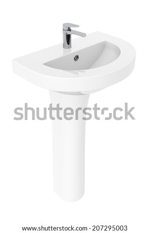 Washbasin with Chrome faucet on a white background Stok fotoğraf ©