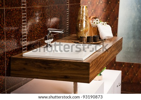 washbasin with counter in modern bathroom