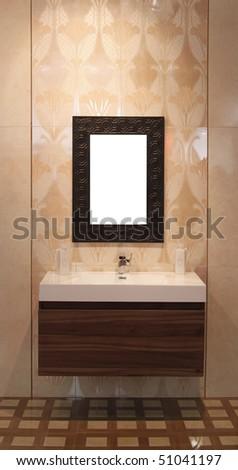 washbowl with mirror in bathroom