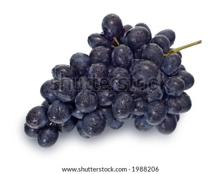 Washed blue grape cluster on white (w clipping path) #1988206
