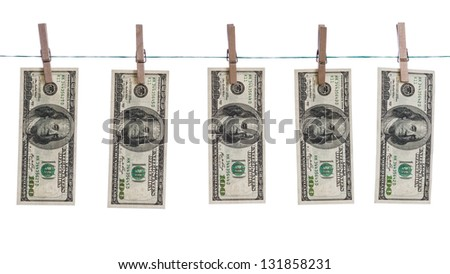 Washed dollars concept