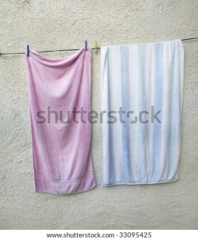 Washed Towel drying in the sun