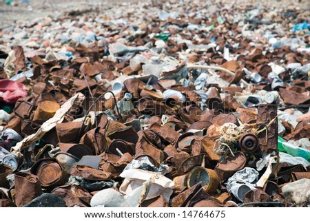 washed up rubbish on hells mouth beach - stock photo