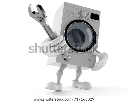 Washer character adjustable wrench isolated on white background. 3d illustration