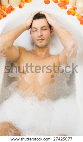 washing body in bathtube