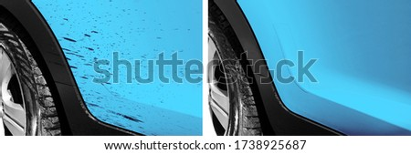 Washing car bitumen stain. Car wash service before and after washing. Cleaning maintenance. Half divided picture. Before and after effect. Washing blue vehicle at station. Car washing concept.