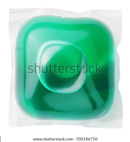 Washing gel capsule pod with laundry detergent isolated on white background with clipping path Сток-фото ©