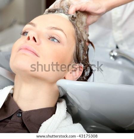 Washing hair in hair salon