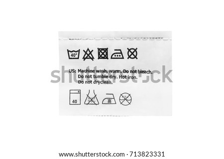 Washing instructions clothes label on white background