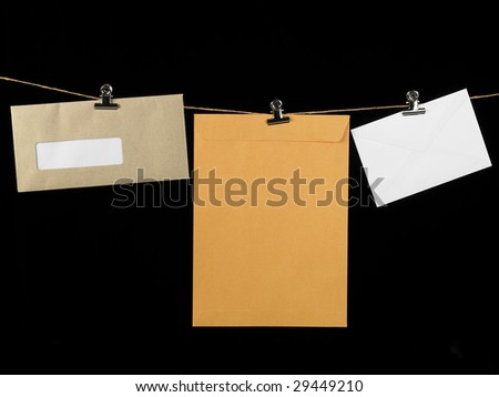 washing line clipped with different type of envelope