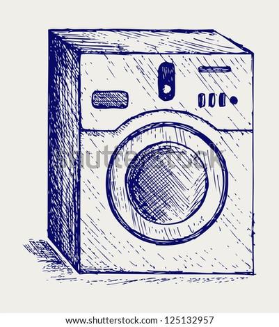 Washing machine. Doodle style. Raster version
