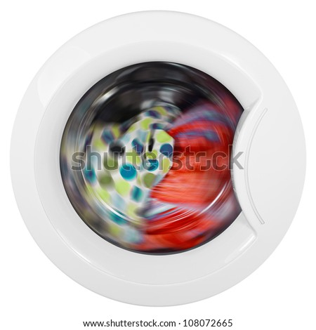 Washing machine door with rotating garments inside on isolated white background