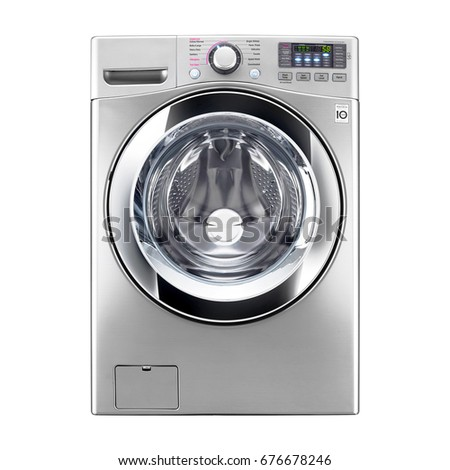 Washing Machine Isolated on a White Background. Front View of Stainless Steel Steam Washer. Front Load Washing Machine with Electronic Control Panel. Clipping Path #676678246
