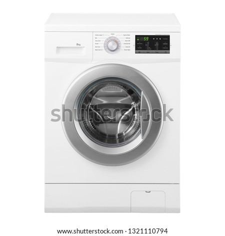 Washing Machine Isolated on White Background. Front View of White Freestanding Front Load Washer with 8kg Wash Load. Domestic and Household Appliance. Home Innovation