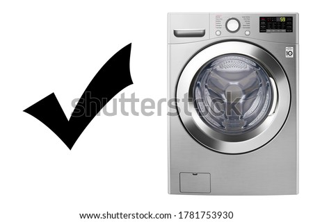 Washing Machine Isolated on White Background. Household Domestic Major Appliance Front View. Home Innovation. Stainless Steel Modern Front Load Washer with Electronic Control Panel