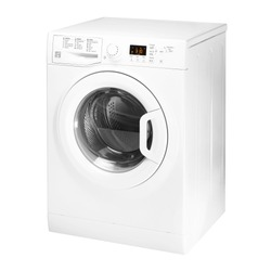 Washing Machine Isolated on White Background. Side View of White Front Load Washer with 8kg Wash Load and 1400rpm Spin Speed Energy Class A++. Domestic and Household Appliance. Home Innovation
