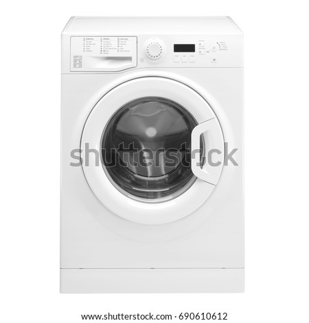 Washing Machine Isolated on White. Front View of White Washer Machine. Front Load Washer Machine with Electronic Control Panel. Electric Appliances. Household Appliances. Home Appliances #690610612