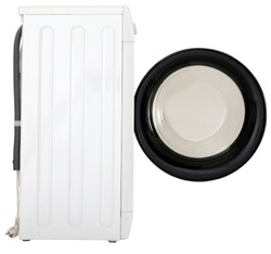 Washing machine side view with open round lid