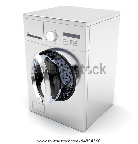 Washing machine with opened door on white background