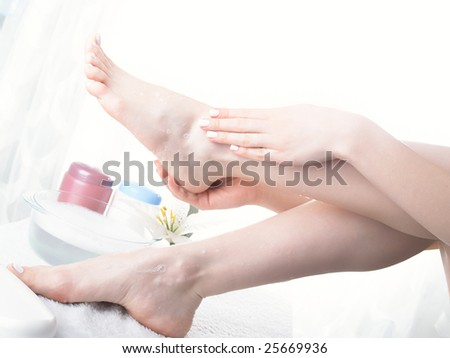 Washing of a female leg in capacity with water