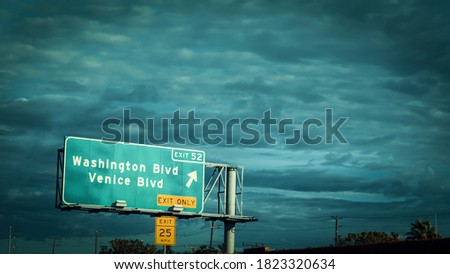 Washington and Venice boulevard sign on a freeway in Los Angeles. Southern California, USA stock photo