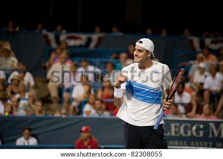 WASHINGTON - AUGUST 5: American John Isner defeats Viktor Troicki (SRB, not pictured) in the quarterfinals of the Legg Mason Tennis Classic on August 5, 2011 in Washington.