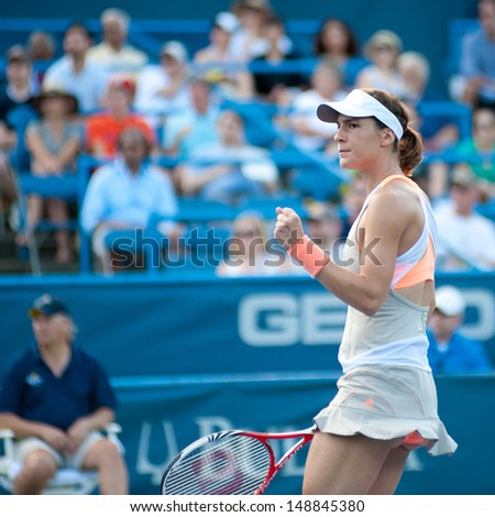 WASHINGTON - AUGUST  4, 2013: Andrea Petkovic (GER) celebrates a point in the final round of the Citi Open tennis tournament on August 4, 2013 in Washington