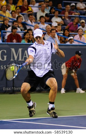WASHINGTON - AUGUST 5: Andy Roddick (USA) during his stunning early elimination by Gilles Simon (FRA, not pictured) from the Legg Mason Tennis Classic on August 5, 2010 in Washington.