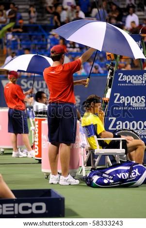 WASHINGTON - AUGUST 2: David Nalbandian (ARG) and Rajeev Ram (USA) before their first round match  at the Legg Mason Tennis Classic on August 2, 2010 in Washington.  Nalbandian defeated Ram.