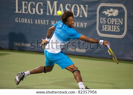 WASHINGTON - AUGUST 6: Gael Monfils (FRA) edged out American John Isner (not pictured) in a third-set tiebreaker in the semifinals of the Legg Mason Tennis Classic on August 6, 2011 in Washington.