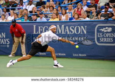 WASHINGTON - AUGUST 2: James Blake (USA) plays in a first round match against Ryan Sweeting (USA) at the Legg Mason Tennis Classic on August 2, 2010 in Washington.  Sweeting defeated Blake.