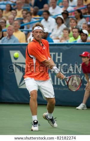 WASHINGTON - AUGUST 2: Reigning champion David Nalbandian (ARG ) is defeated by James Blake (USA, not pictured) at the Legg Mason Tennis Classic on August 2, 2011 in Washington.