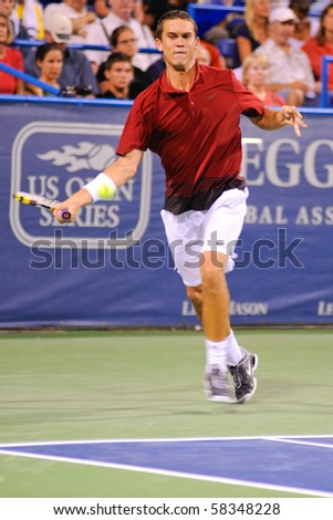 WASHINGTON - AUGUST 2: Ryan Sweeting (USA) plays in a first round match against James Blake (USA) at the Legg Mason Tennis Classic on August 2, 2010 in Washington.  Sweeting defeated Blake.