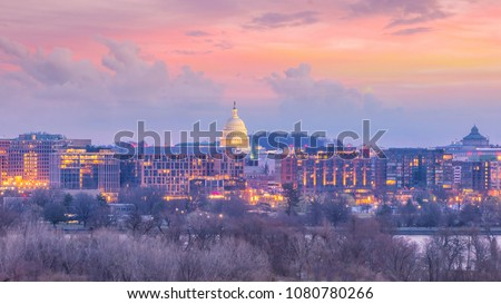 Washington, D.C. city skyline at twilight in USA