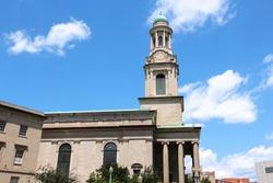 Washington D.C. landmarks. National City Christian Church - neoclassical building at Thomas Circle. Protestant denomination.