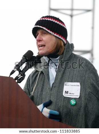 WASHINGTON D.C.-MAR. 17:Anti-War activist Cindy Sheehan speaks at an anti-war rally near the Pentagon in Washington D.C. on March 17, 2007.