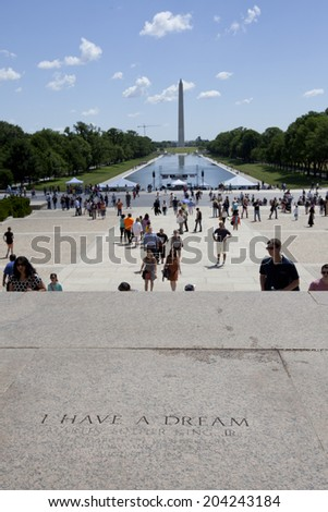 "WASHINGTON D.C. - MAY 25 2014: Spot where ""I Have a Dream"" speech was delivered by American civil rights activist Martin Luther King, Jr. on August 28, 1963, from the steps of the Lincoln Memorial."