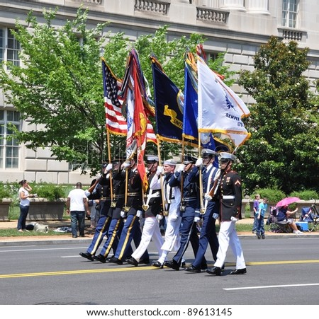WASHINGTON, D.C. - MAY 30, 2011: The Joint Service Color Guard in Memorial Day Parade May 30, 2011, in Washington, D.C.