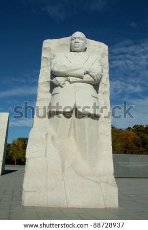 WASHINGTON, D.C. - OCTOBER 29, 2011 - Granite statue of Dr. King at the Martin Luther King Memorial on the National Mall , October 28, 2011 in Washington, D.C.