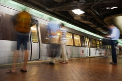 Washington D.C. - Subway station with passengers in motion blur