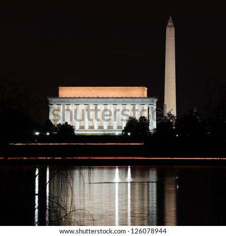 Washington DC - Abraham Lincoln Memorial, Monument and Arlington Bridge on Potomac River at night