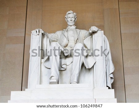 Washington DC, Abraham Lincoln statue in the Lincoln Memorial